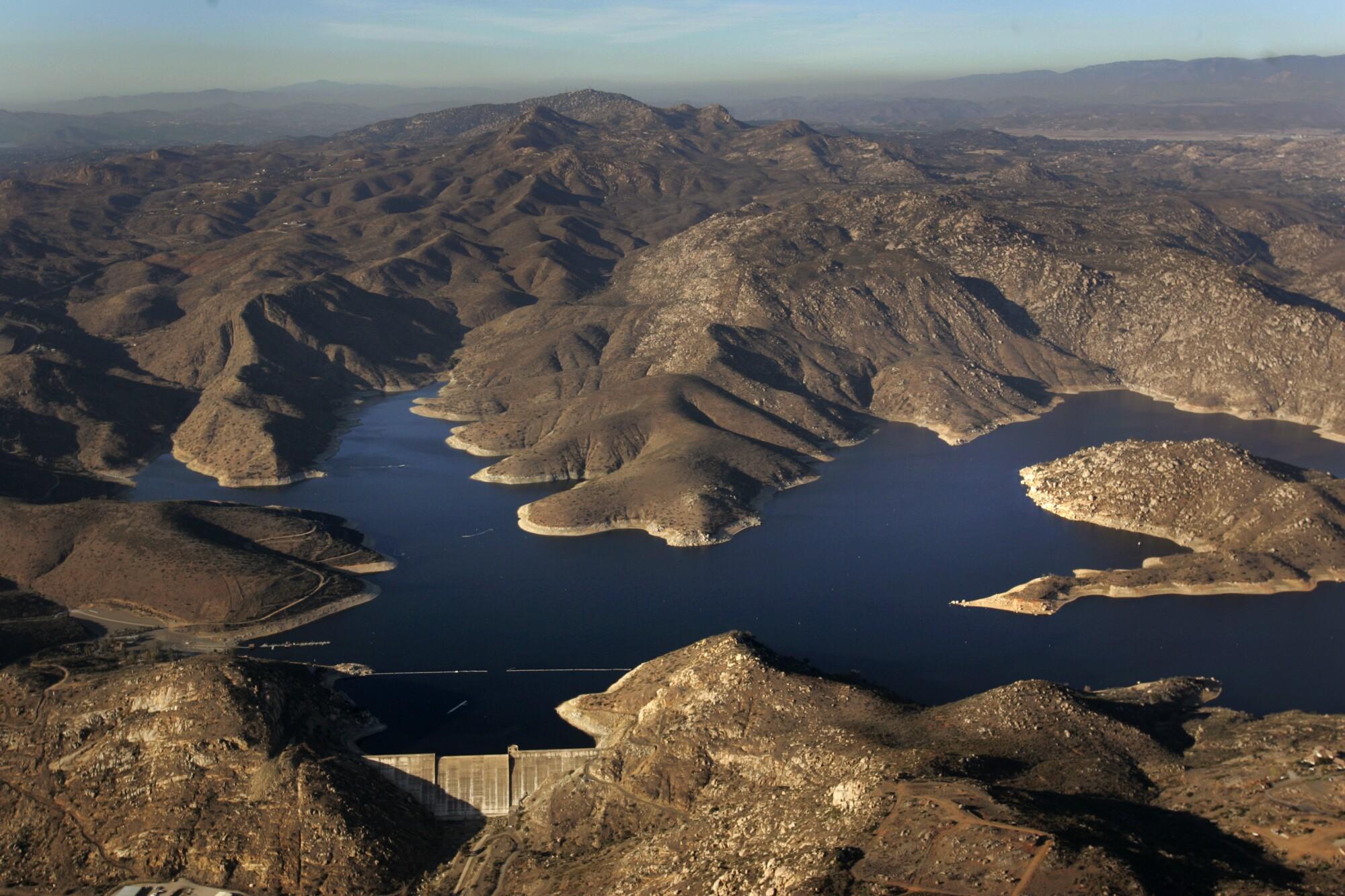 An aerial view of San Vincente Reservoir.