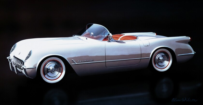 50 years of the Corvette: all 300 of the 1953 Corvettes featuired a polo–white exterior, red vinyl i
