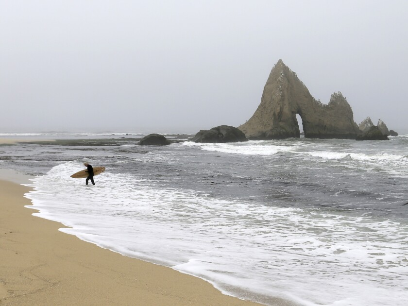 Shark's Tooth Rock at Martins Beach has been a popular landmark for generations of beachgoers.