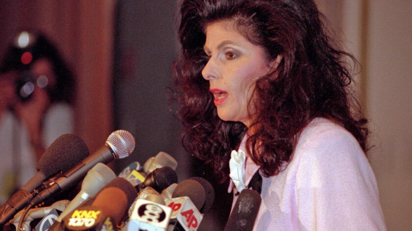 In a news conference at the Bevery Wilshire Hotel in 1996, attorney Gloria Allred announces that she is representing a 13-year-old boy who claimed to have been molested by Michael Jackson.