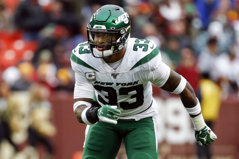 FILE - In this Nov. 17, 2019, file photo, New York Jets strong safety Jamal Adams (33) plays during the second half of an NFL football game against the Washington Redskins in Landover, Md. Adams got his wish. He wanted out of New York and away from the Jets. His new home is in Seattle and for what the Seahawks gave up, they need Adams to play like an All-Pro. (AP Photo/Patrick Semansky, File)