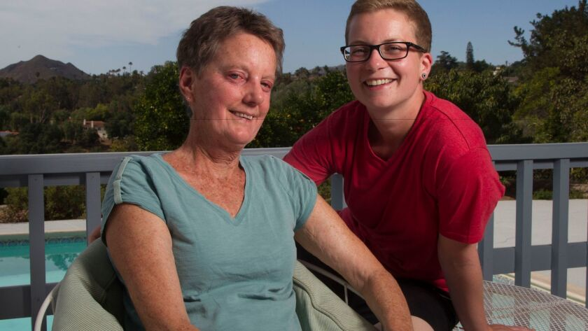 Charty Bassett of Escondido and Katrin Oppermann of Husum, Germany, have identical blood DNA thanks to a blood stem cell transplant.