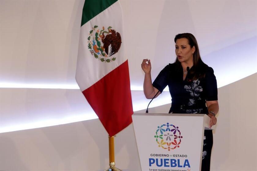 La militante del Partido Acción Nacional (PAN) Martha Érika Alonso, ofrece su primer mensaje oficial hoy, en el estado de Puebla (México). EFE/Archivo