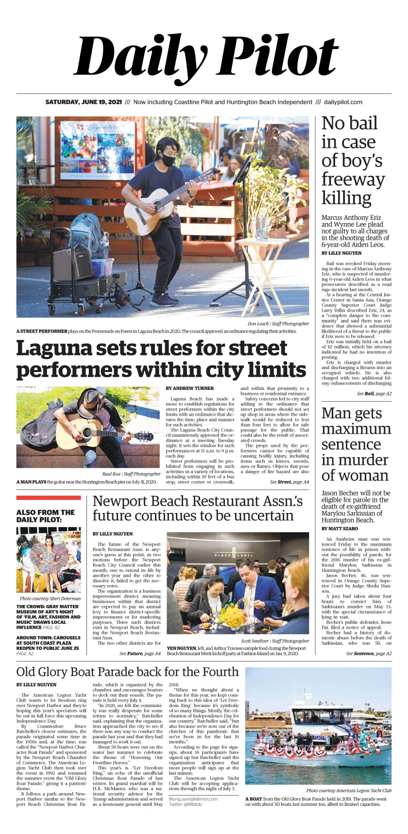 Front page of Daily Pilot e-newspaper for Saturday, June 19, 2021.