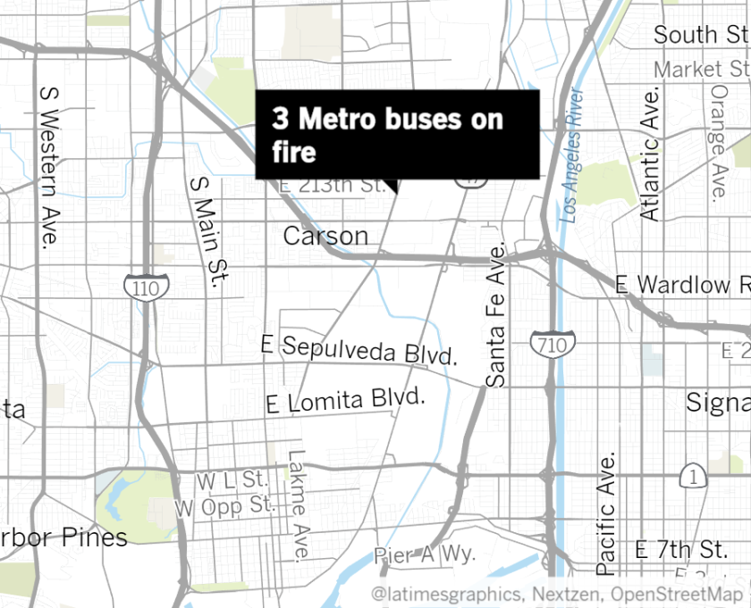 Three Metro Buses Catch Fire At Hub In Carson Los Angeles Times