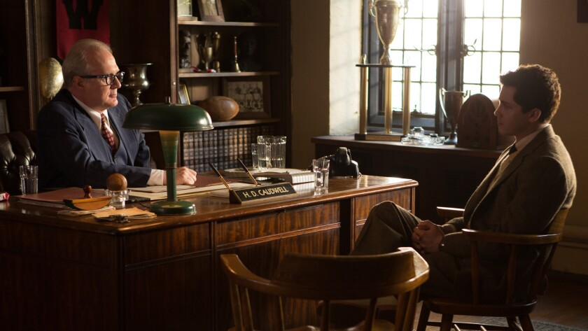"""Tracy Letts, left, and Logan Lerman in the movie """"Indignation."""""""