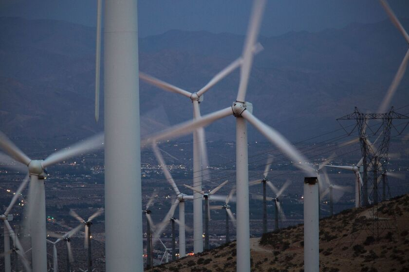 San Gorgonio Pass near Palm Springs is one of the largest wind farm areas in the United States