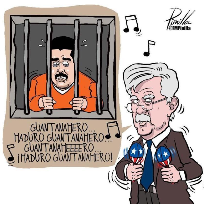 Reproducción de la caricatura realizada por el ilustrador venezolano, Fernando Pinilla, donde aparece el consejero de Seguridad Nacional de EEUU, John Bolton (d), cantándole al mandatario venezolano Nicolás Maduro (i), supuestamente encarcelado en Guantánamo. EFE/Fernando Pinilla/SOLO USO EDITORIAL/NO VENTAS