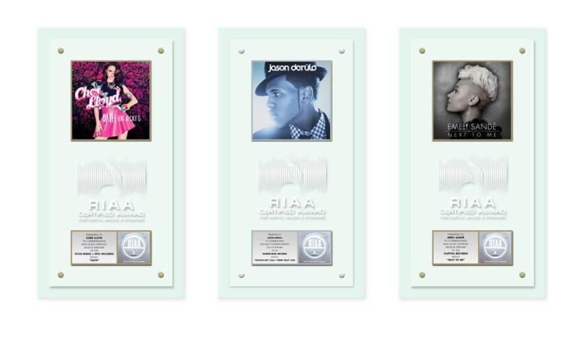 RIAA's new digital music stream awards plaques