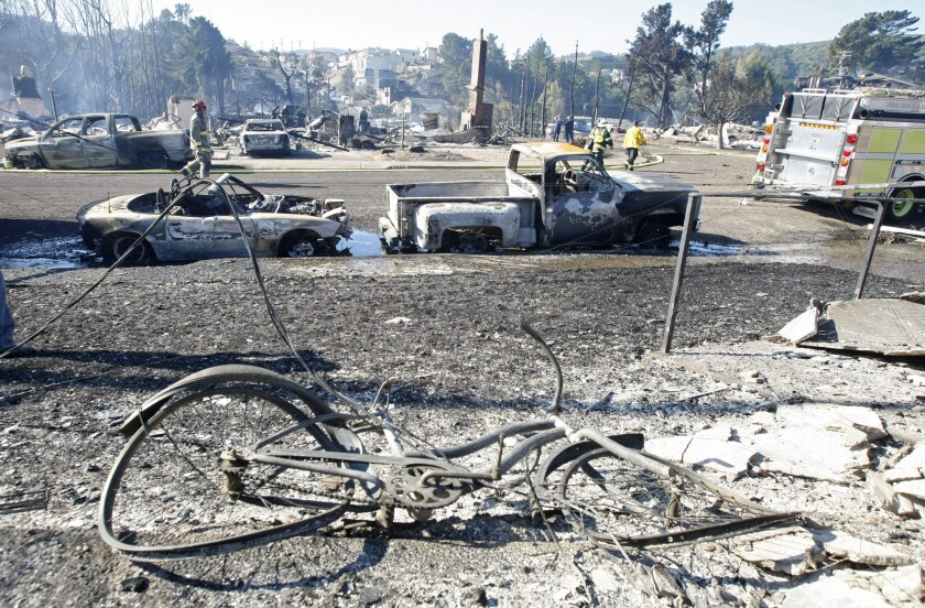 The San Bruno gas explosion aftermath: eight dead, 38 homes destroyed.