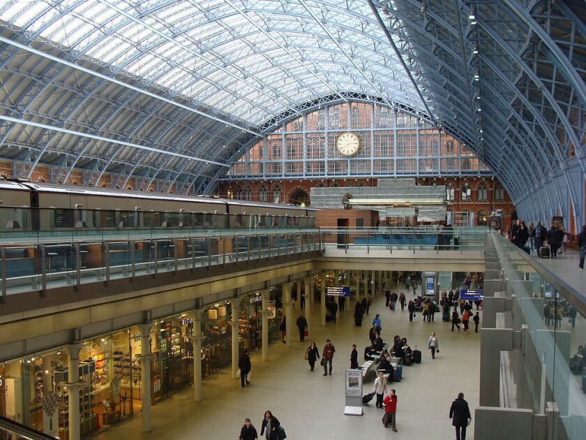 High-speed Eurostar trains leave from St Pancras International station in London.