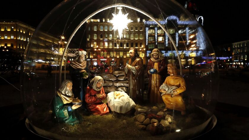 A nativity scene near the Kazan's Cathedral in St. Petersburg, Russia on Dec. 18.