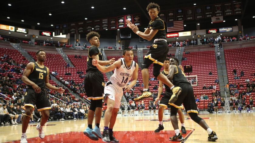 Foothills vs Mission Bay in the San Diego Section Open Division high school boys basketball championship game played at the San Diego State's Viejas Arena