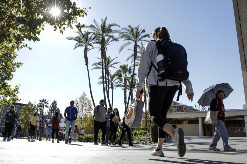 Students at Cal State Los Angeles. To eliminate tuition for all California residents would cost $4.3 billion, state budgeters estimate — $2.5 billion at UC and $1.8 billion at Cal State.