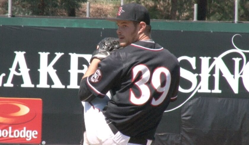 SDSU starting pitcher Cody Thompson allowed six runs (four earned) in the first inning against Nevada in the Mountain West Tournament at Albuquerque, N.M.