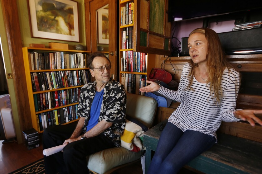 LOS ANGELES, CA – SEPTEMBER 11, 2018: Tenants Bruce Kijewski, left, and Kelly Day talk about their a