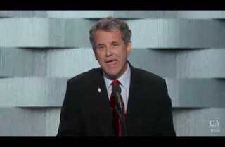 Sen. Sherrod Brown of Ohio speaks at the Democratic National Convention