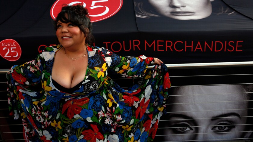 Celeste Rendon, 31, of Sunnyvale, California, presents her new dress in honor of Adele for the first of her eight night sold out run at Staples Center.