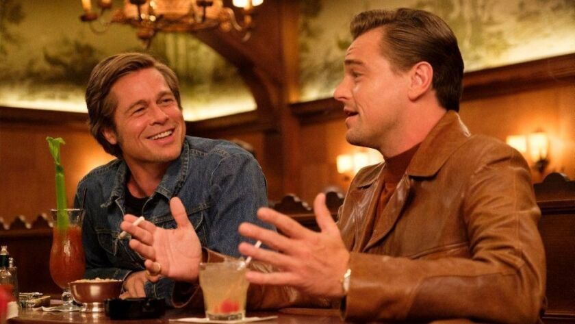 """Brad Pitt, left, and Leonardo DiCaprio in a scene from Quentin Tarantino's """"Once Upon a Time ... in Hollywood,"""" which made its world premiere at the Cannes Film Festival."""