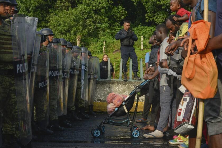 Migrant caravan in Chiapas state, Mexico.