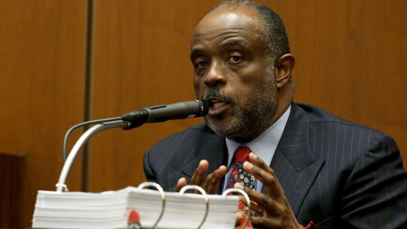 LOS ANGELES, CA. - JANUARY 16, 2014: State senator Roderick D. Wright takes the stand in his own de