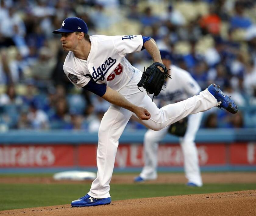 Los Angeles Dodgers pitcher Ross Stripling delivers in the first inning of the MLB baseball game between the San Francisco Giants and the Los Angeles Dodgers at Dodger Stadium in Los Angeles, California, USA, 15 June 2018. EFE
