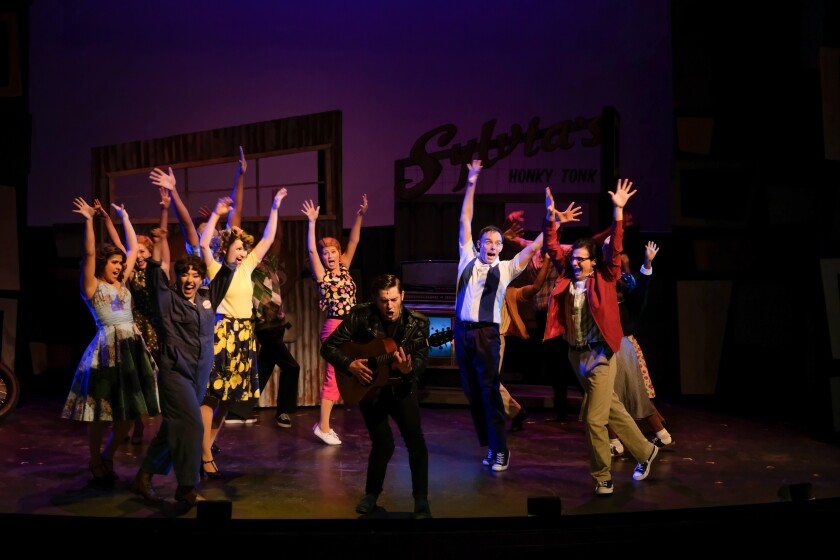 "The cast of San Diego Musical Theatre's production of ""All Shook Up."""