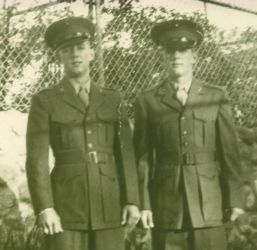 Pfc. Walter Cribben and Pvt. James Cribben of Coronado shortly after boot camp.