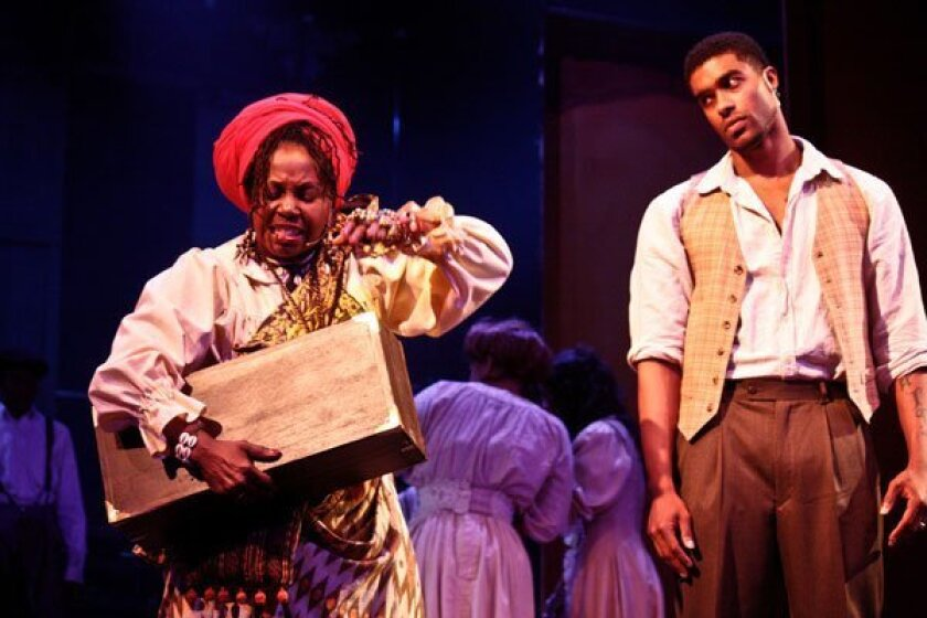 "DeBorah Sharpe-Taylor and Alvester Martin III in a scene from ""Storyville,"" a re-envisioned musical running at the San Diego REPertory Theatre through Dec. 12. Photo Daren Scott"