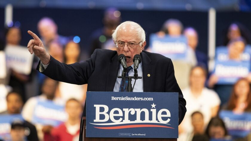 Bernie Sanders addresses a rally in North Charleston, S.C., Thursday, March 14, 2019. South Carolina