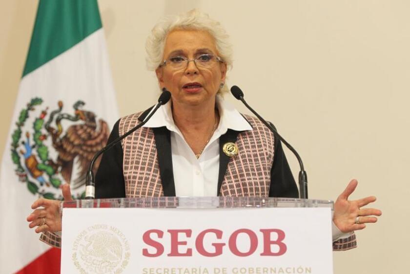 La secretaria de Gobernación, Olga Sánchez Cordero, habla durante una rueda de prensa en Ciudad de México (México). EFE/Mario Guzmán/Archivo