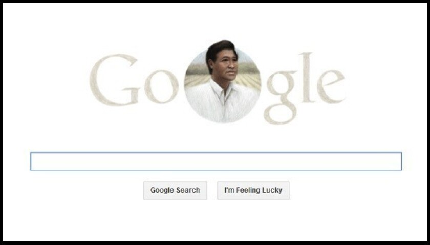 Google has honored California farm labor leader Cesar Chavez with a doodle on the home page of the search engine.