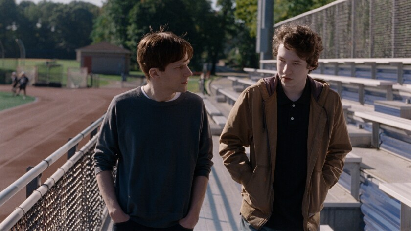 "Jesse Eisenberg, left, and Devin Druid in ""Louder Than Bombs."""