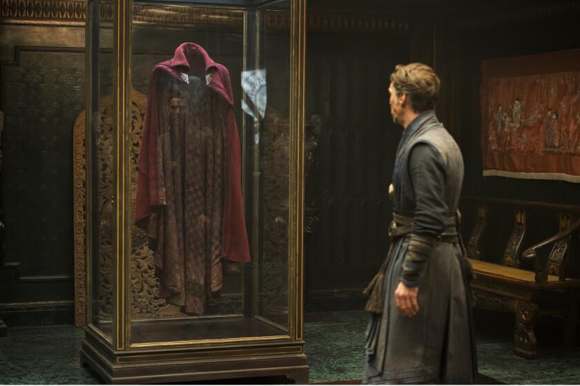 "Benedict Cumberbatch stares at the Cloak of Levitation in ""Doctor Strange."""