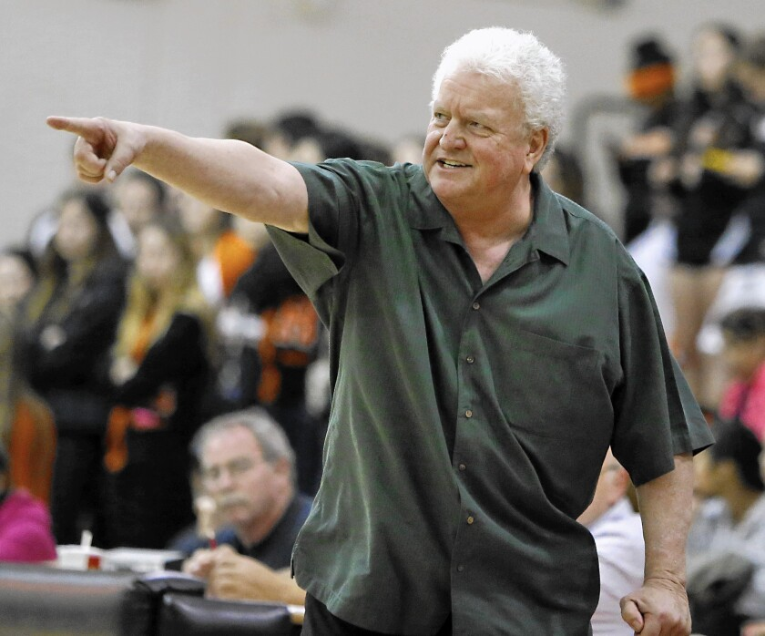 Edison High girls basketball coach Dan Wiley, who died Monday, directs his team during a game early this year.