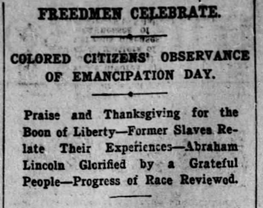 A Jan., 2, 1900 edition of the Los Angeles Times mentions an Emancipation Day celebration in downtown Los Angeles.