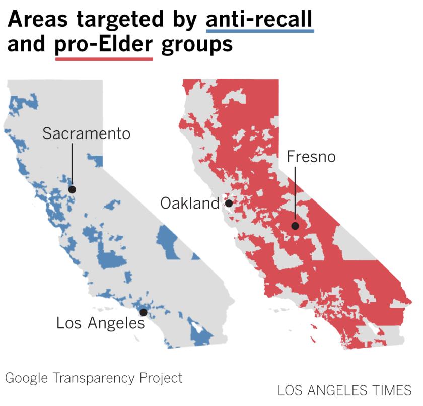دو نقشه از کالیفرنیا سایه انداخته اند تا محل کمپین های تبلیغاتی فردی را نشان دهند.