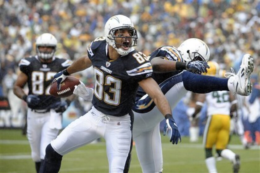 San Diego Chargers wide receiver Vincent Jackson (83) celebrates his touchdown with teammate tight end Antonio Gates in the first quarter during an NFL football game, Sunday, Nov. 6, 2011, in San Diego. (AP Photo/Denis Poroy)