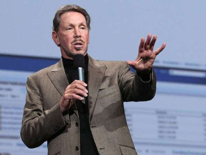 Oracle CEO Larry Ellison speaking during the 2011 Oracle OpenWorld Keynote in San Francisco.