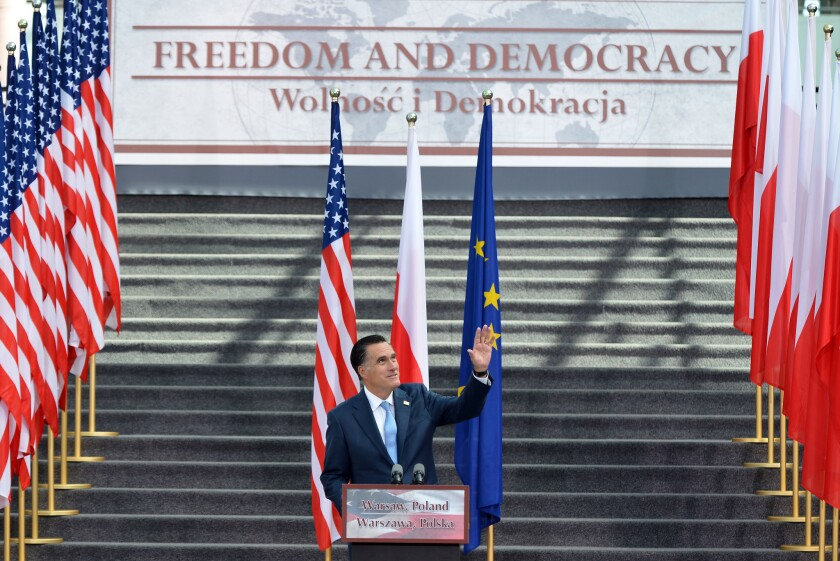 Romney concludes foreign trip with speech on Polish, American ties