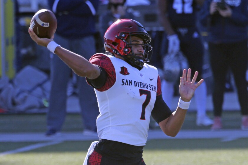 San Diego State quarterback Lucas Johnson passes against Nevada during Saturday's Mountain West game.