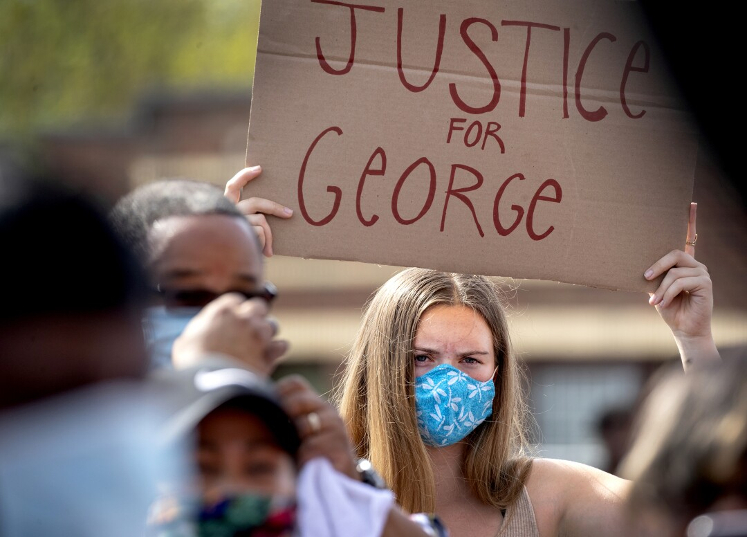 Protesters gather in Minneapolis after the death of George Floyd.
