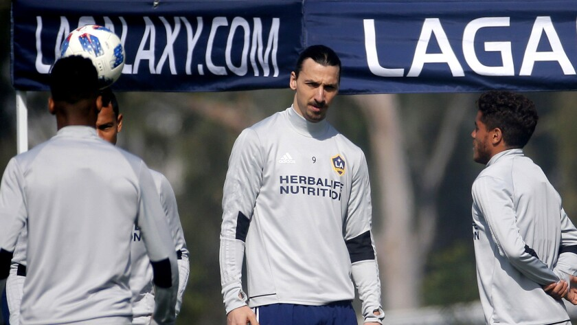 LA Galaxy's newest player Zlatan Ibrahimovic, center, of Sweden, in actions during an MLS soccer tra