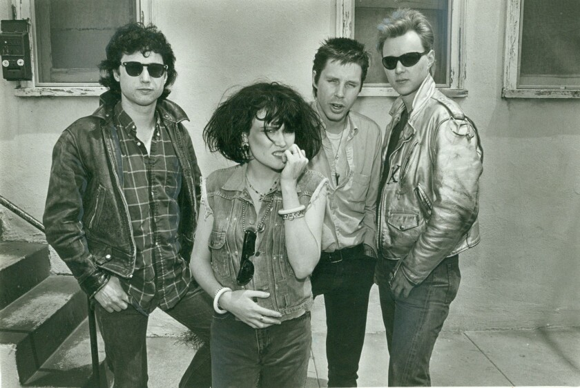 A 1980 photo of X members D.J. Bonebrake, from left, Exene Cervenka, John Doe and Billy Zoom. The original lineup will play its first four studio albums in their entirety over four nights in July at the Roxy in West Hollywood.