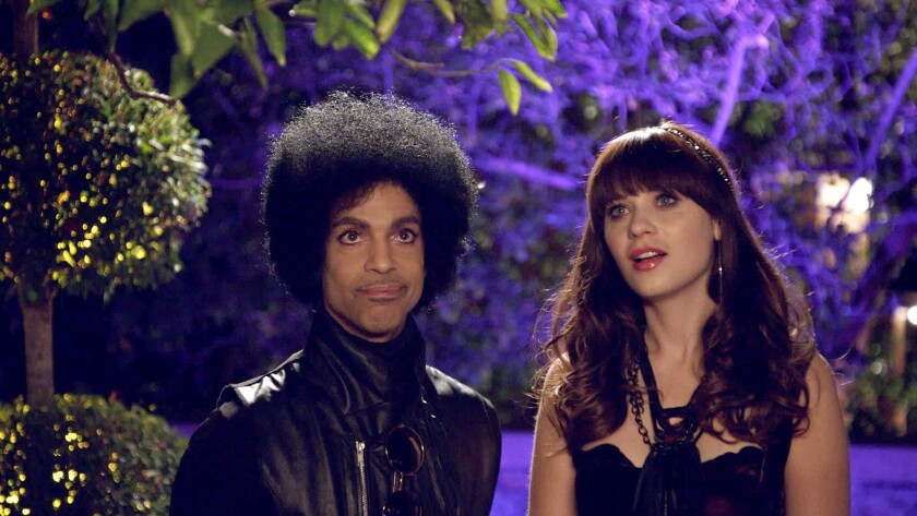 "Prince guest stars on ""New Girl"" on Fox. With Zooey Deschanel."