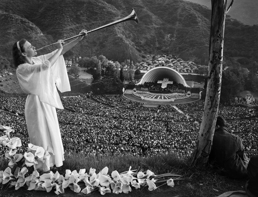 April 6, 1947: A trumpeter heralds the dawn for 25,000 worshipers at Hollywood Bowl sunrise service.