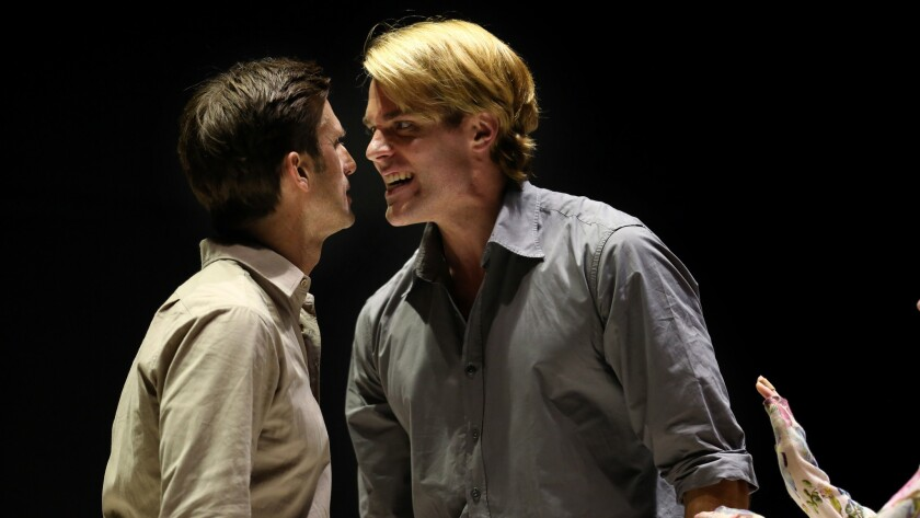 Weller as Eddie and Register as Rodolpho, facing off.