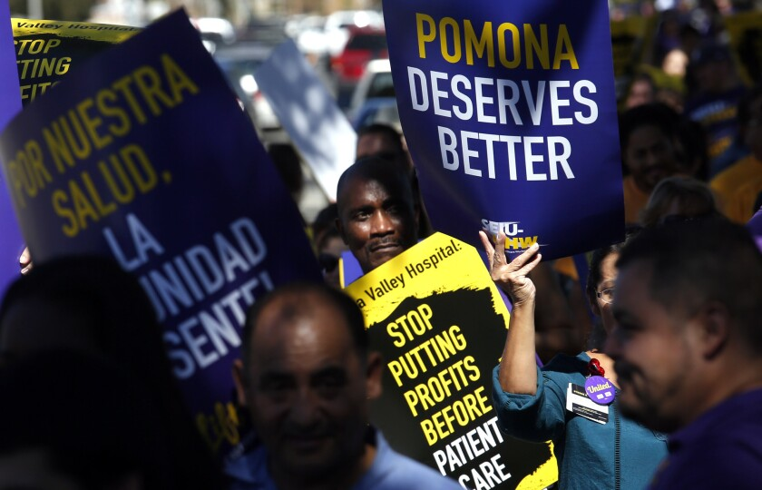 Over 300 healthcare workers and supporters rallied in front of Pomona Valley Hospital Medical Center on Oct. 19, 2016. The workers have voted to unionize, but management has challenged the vote.