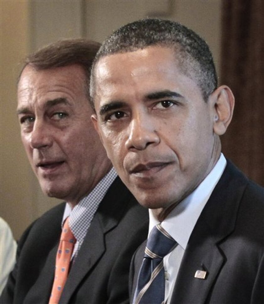 FILE - In this July 7, 2011, file photo President Barack Obama and House Speaker John Boehner of Ohio meet with Congressional leadership in the Cabinet Room of the White House in Washington to discuss the debt. A debt-busting deal on the scale that Obama and Boehner are seeking all but guarantees Medicare beneficiaries would feel part of the pain. Some working-age people and their families could also be on the hook, if the deal ultimately curtails the tax break for employer-provided health insurance. (AP Photo/Pablo Martinez Monsivais, File)