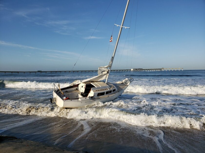 San Diego lifeguards posted a photo on Twitter that showed a boat that was grounded late Sunday in Ocean Beach. Police said the 34-year-old man driving the boat was arrested on suspicion of operating a boat while under the influence of alcohol.
